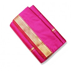 Cotton Silk Dhoti (Pancha) With Shawl - Magenta