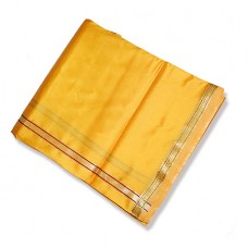 Cotton Silk Dhoti (Pancha) With Shawl - Yellow
