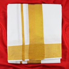 Dhoti (Pancha) With Shawl -  Golden Border
