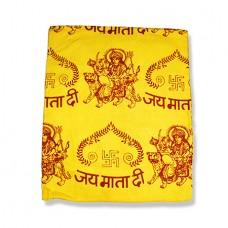 Jai Mata Di Shawl With Swastik - Yellow
