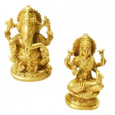 Ganesh Laxmi Statue In Brass