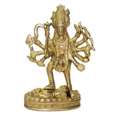 Maa Kaali Standing On Shiva In Brass