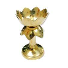 Artistic Lotus Pooja Lamp in Brass