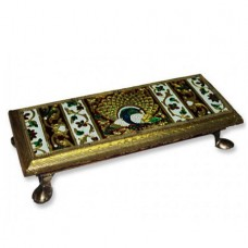 Deity Pedestal With Meenakari Work- Rectangle