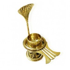 Brass Yoni Base For Shivlinga With Long Snake