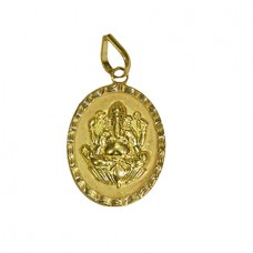 Ganesha On Lotus Locket In Pure Gold