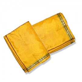 Pure Silk Dhoti With Shawl In Yellow Color