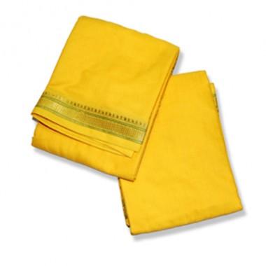 Yellow Dhoti (Pancha) With Shawl In Cotton