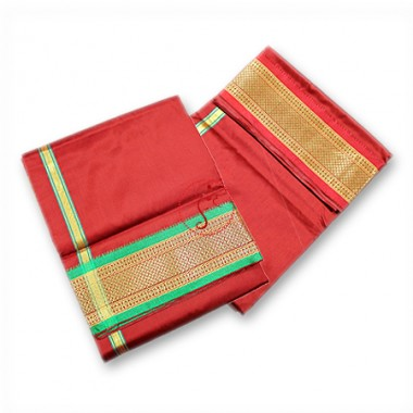 Dhoti (Pancha) With Shawl Fancy Border - Red