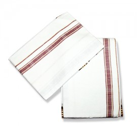 Cotton Dhoti (Pancha) With Shawl - White