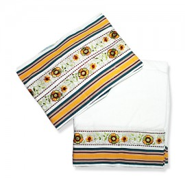 Dhoti (Pancha) With Shawl - Kutchi Work In Pure Cotton
