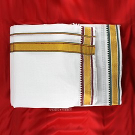 Dhoti (Pancha) With Shawl in Golden Border