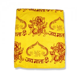 Jai Mata Di Shawl With Swastik - Yellow