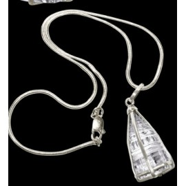 Crystal Shree Yantra Locket With Silver Chain