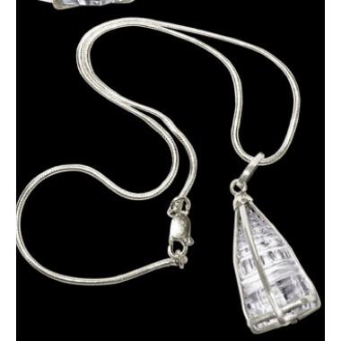 Crystal Shree Yantra Locket With Silver Chain