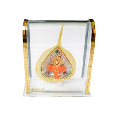 Lord Ganesha In Gold Plated Peepal Leaf With Acrylic Frame