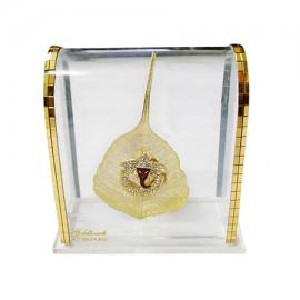 Ganesha In Gold Peepal Leaf With Acrylic Frame