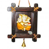 Ganesh With Bell In Wooden Frame