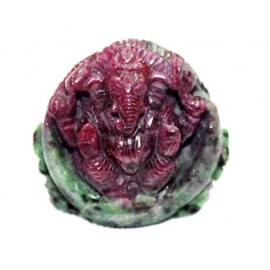 Ganesha With Surya In Ruby - 205 Carats
