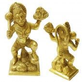 Lord Hanuman Carrying Mount Dronagiri In Brass