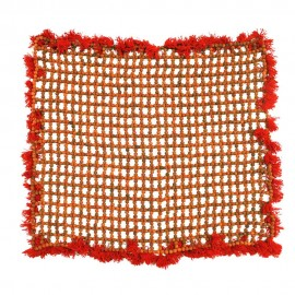 Rudraksha Mat with Red Woolen Border