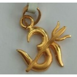 Om Locket With Trident In Pure Gold