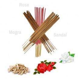Rose Mogra Sandal Incense Agarbatti Sticks 3 In 1