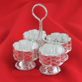 Haldi Kumkum Container With 4 Cups In German Silver
