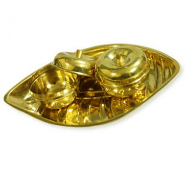 Haldi Kumkum Plate With Container In Brass