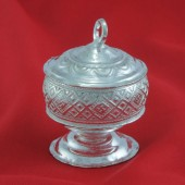 Kumkum Container In German Silver - Design Ii