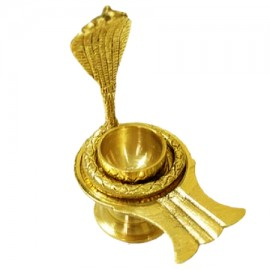 Brass Yoni Base For Shivlinga With Snake