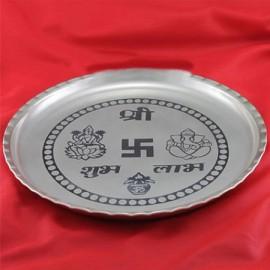 Ganesh Laxmi Pooja Thali In German Silver