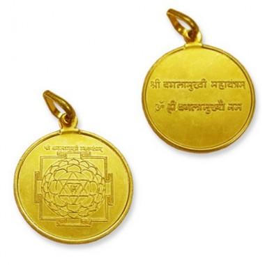 Baglamukhi Yantra Locket In Copper Gold Polish