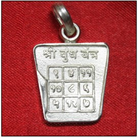 Buddh / Mercury Yantra Locket In Pure Silver