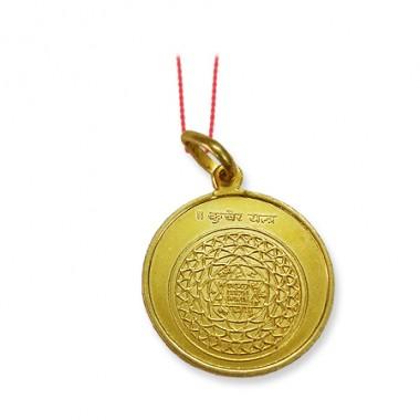 Kubera Yantra Locket In Copper Gold Polish
