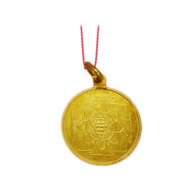 Saraswati Yantra Locket In Copper Gold Polish